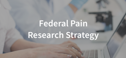 Federal Pain Research Strategy. picture of person using computer and person with a back pain